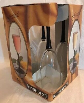 "(Luminarc France Black Stem Clear Champagne Flutes New 8.25"" 5.5 Oz Glasses (4))"