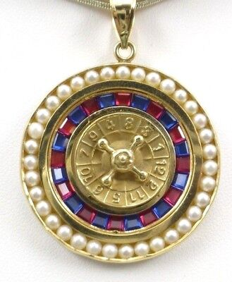 Spinning Roulette Wheel (Vintage 14k Yellow Gold Spinning Roulette Wheel Pendant Circa 1970's 13.5 Grams  )