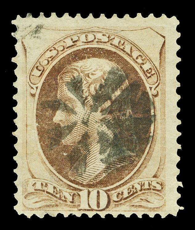 Scott 161 1873 10c Jefferson Hard Paper Issue Used Fine Light Cancel Cat 25 - $9.99