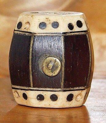 Antique Chinese Wood & Bone Toggle, Drum Design, 19th - Chinese Drum