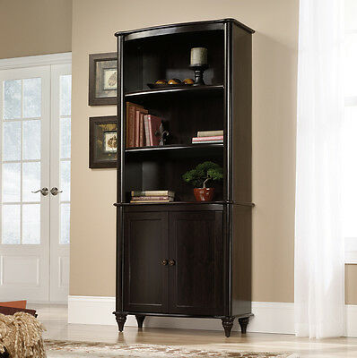 Sauder Woodworking 416775 New Albany Library w/Doors Bookcase Jamocha Dark Wood