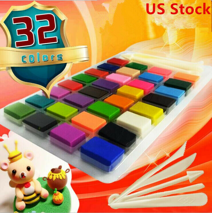32 Colors Polymer Clay Block Soft Clay Modelling Moulding DI