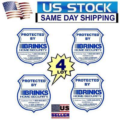 4 BRINKS HOME SECURITY ALARM SYSTEM WARNING STICKERS DECALS LOT
