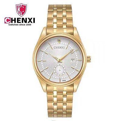 Fashion Gorgeous Mens Watch Gold Stainless Steel Quartz Watches Wrist Watches