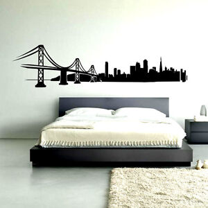 San francisco skyline wall decal sticker vinyl decor mural bedroom kitchen art ebay - Home decor san francisco image ...