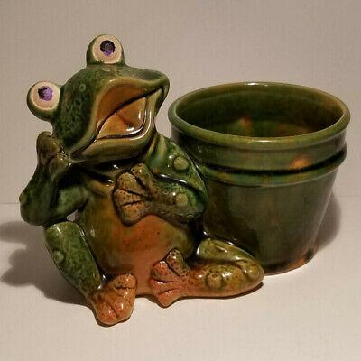 Vintage Frog Planter Flower Pot Ceramic Green Succulent Planter Funny Silly Green Frog Pot