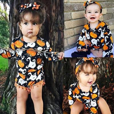 Toddler Infant Baby Kids Girls Pumpkin Romper+Headband Halloween Clothes Outfit](Baby Pumpkin Outfit)