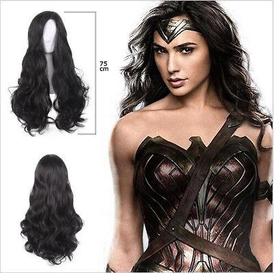 Halloween-kostüme, Schwarze Haare (Kostüm Wonder Woman Super Hero Haar Schwarz Perücke Halloween Cosplay Custom)