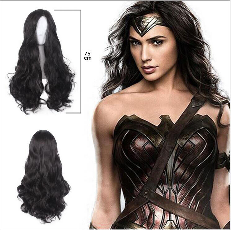Wonder Woman Super Hero Hair Black Wig A Wig Cap Halloween Cosplay
