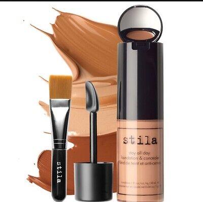 Stila Stay All Day Foundation tan 12 Concealer & #35 Brush Kit Oil Free NIB