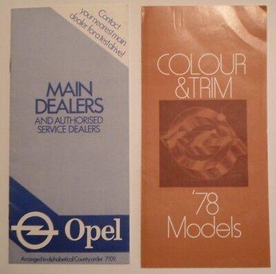 OPEL RANGE orig 1978 UK Mkt Colour & Trim Brochure + Main Dealers Booklet