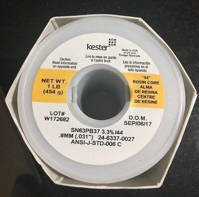 Kester 24-6337-0027 Wire Solder .031 Ra Rosin Sn63 Pb37 66 Flux 44 Core 1 Lb New