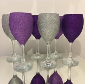 Set of 6 purple and silver glitter wine glasses