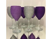 Set of 6 purple and silver glitter wine glasses
