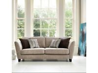 SOFOLOGY 3-PIECE SOFA SUITE MINK - good as new 2 sofas & 1 footstool