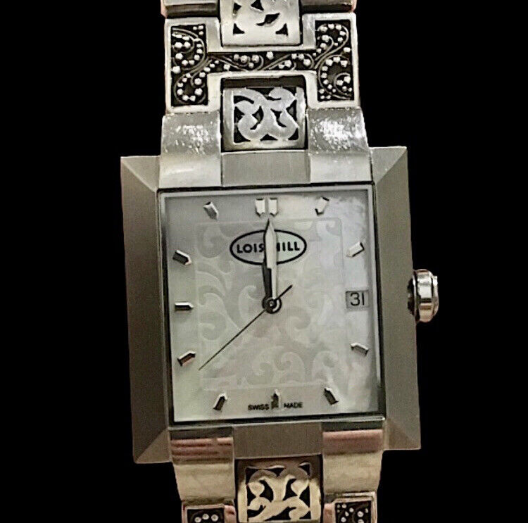 LOIS HILL Watch Square MOP Face Sterling Silver Granulated & Cut Out Band