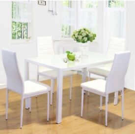 Brand new dining table with 4 leather chairs