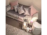 Two seater crushed velvet silver sofa