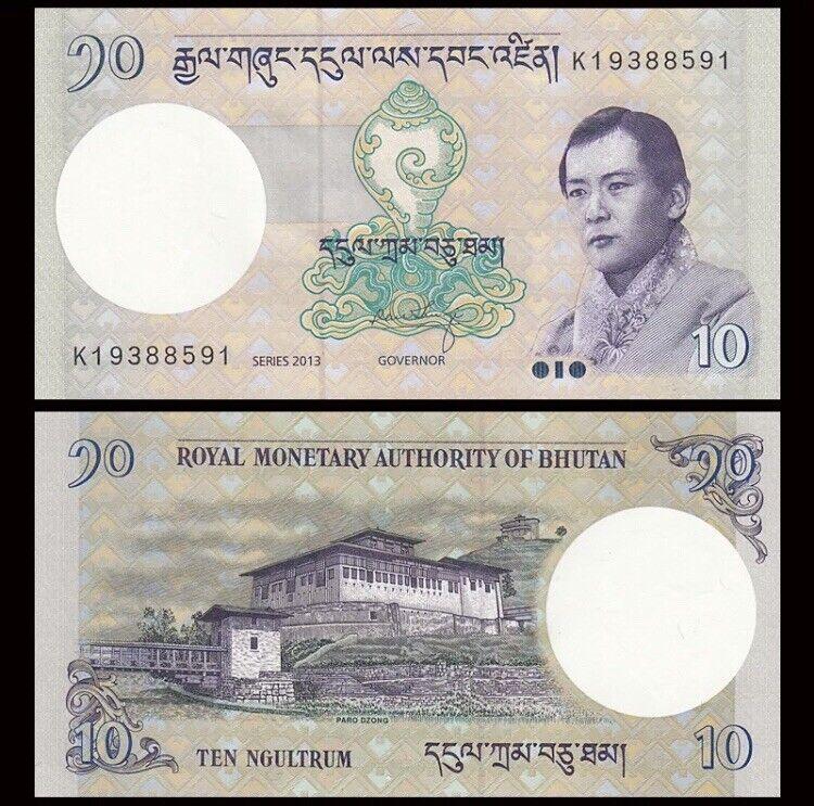 BHUTAN 10 Ngultrum, 2013, P-29b, King Wangchuck, Monastery, UNC World Currency