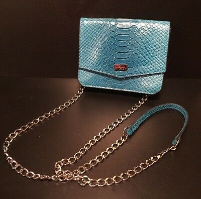 (Authentic Lodis Aqua Snakeskin Leather Cross Body Bag/Purse-Really Cute)