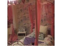Girls bed four poster princess bed