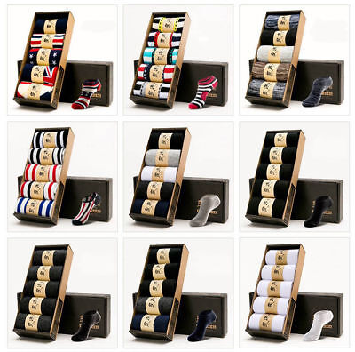 5 Pairs Box Casual Invisible No Show Mens 100  Cotton Nonslip Boat Low Cut Socks