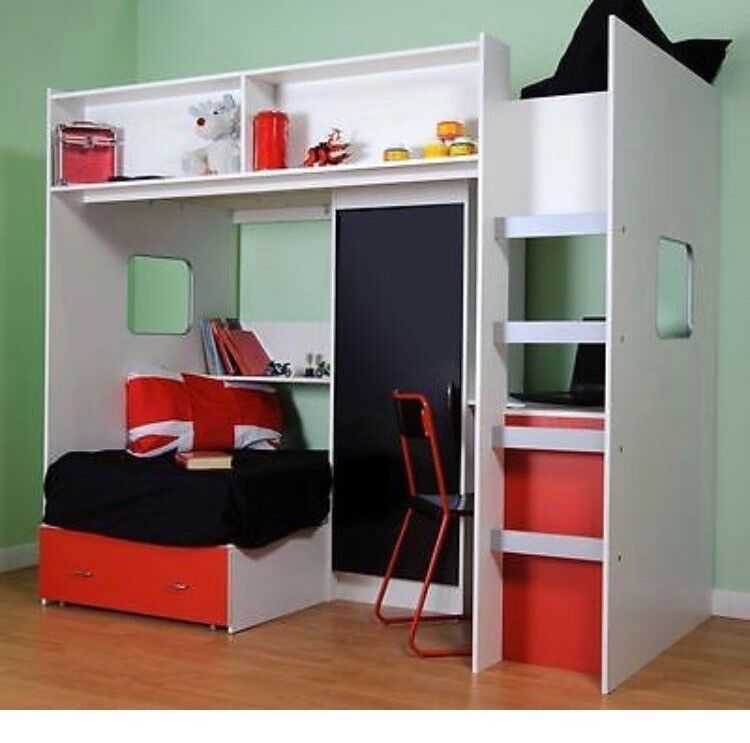 Rutland High Sleeper Single Bed With Wardrobe Desk Draws And
