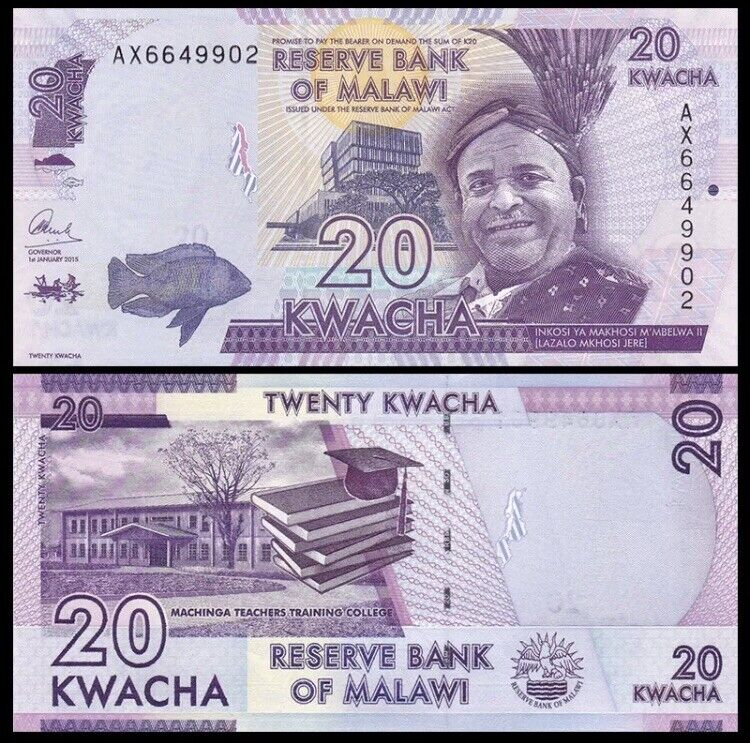 MALAWI 20 Kwacha, 2015, P-63b, Mkhuzo Jere/Domasi Teachers, UNC World Currency
