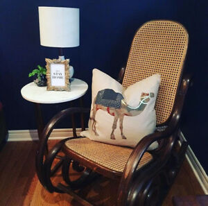 Vintage caned back wooden rocking chair