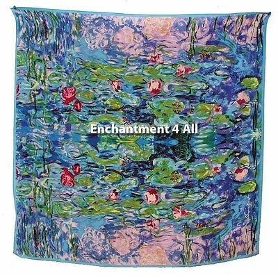 "Handmade 100% Silk Art Scarf Wrap 35""X35"" Handrolled Hem w/ Monet ""Water Lilies"""