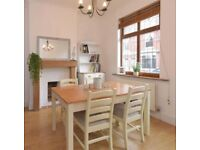 Cream Pine Dining Table And 4 Chairs