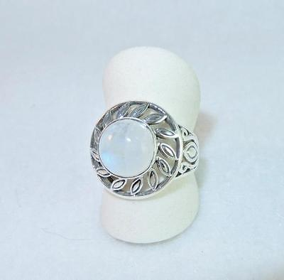 Rainbow Moonstone Round Daisy Cut-Out Ring 925 Sterling Silver Size 8 (Rainbow Cut Out)
