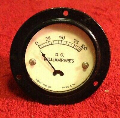 Vintage Hoyt Meter Type 566 D.c Milliamperes Gauge 0-100 Glass Face Steam Punk