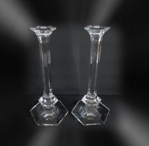 Val St. Lambert clear crystal TALL candle holders Elysee pattern