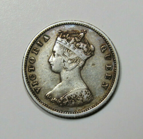 1866 Hong Kong 10 Cents Silver Foreign Coin