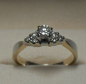 Vintage - 14kt Yellow Gold .33ct. Brilliant Round  Diamond Ring
