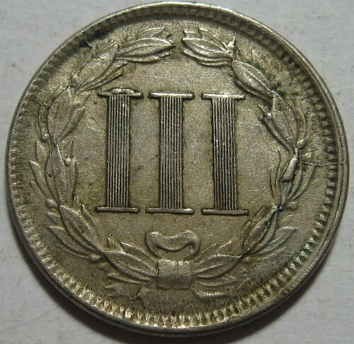 = 1866 XF+ Reverse CUD THREE Cent Piece, Nice Details, FREE Shipping