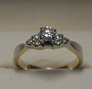 Vintage - 14kt yellow gold Diamond Engagement Ring - Size 6.75