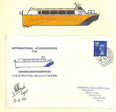 BC261 1972 GB IOW Hants *International* Hovercraft Flight Cover SIGNED CAPTAIN