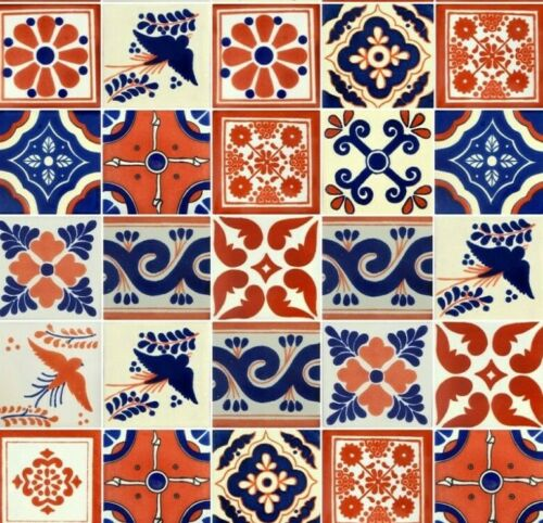 25 4x4 Mexican Talavera Tiles  Folk Art Terracotta & Blue Mixed Designs