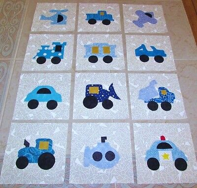 """Set of 12  Blue Transportation Vehicles Applique  6"""" x 6"""" Quilt  Blocks"""