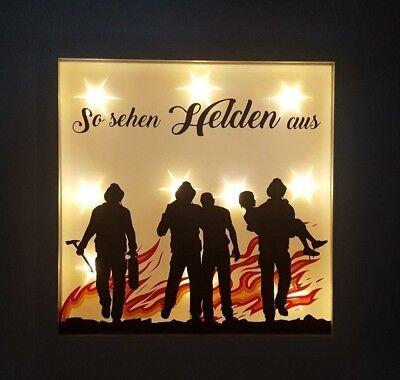 Leuchtrahmen Lichtrahmen Bilderrahmen Feuerwehr Helden Geschenk individuell