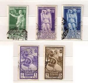 1938-AFRICA-ORIENT-ITALIANA-5-val-AUGUSTO-POSTA-AEREA-C-25-C-50-L-1-25