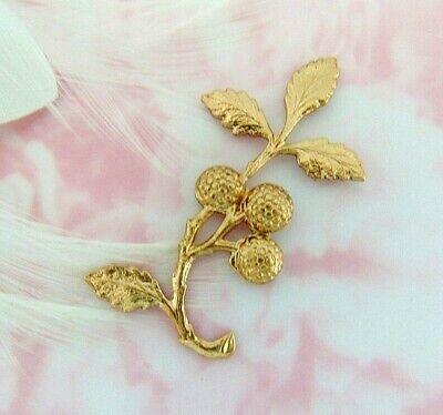 Brass Woodland Leaf - BRASS Woodland Leaf & Berries Branch Spray Stamping ~ Jewelry (E-2646)