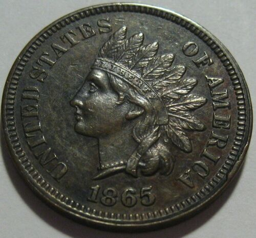= 1865 AU+ INDIAN Cent, Nice Details & EYE Appeal, FREE Shipping