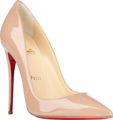 100% AUTHENTIC NEW WOMEN LOUBOUTIN SO KATE NUDE PATENT HEELS/PUMPS US 6.5