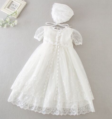 Baby Girl Sleeveless Christening Dress Girls Lace Baptism Dress Embroidered