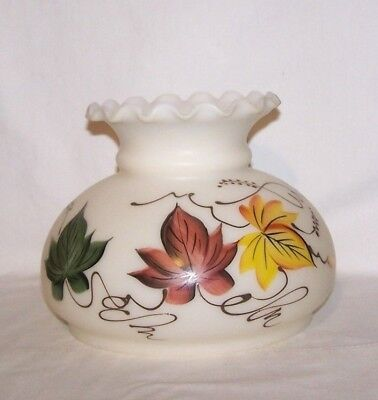 """Vintage Hand Painted / Beaded Milk Glass Lamp Globe Flutted Top 6 3/4"""" Fitter #2"""