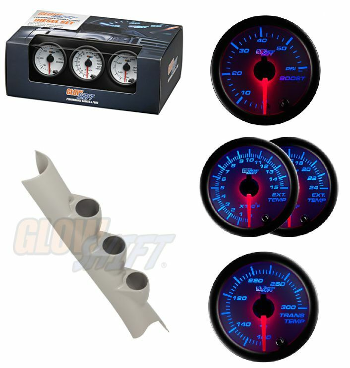 GSWhite 7 Color Gauge Set-Boost,Trans Temp&1500F EGT&Taupe Pod For 10-14 Cummins