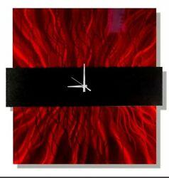 Metal Wall Clock Art Red Black Modern Hanging Sculpture Abstract Decor Jon Allen